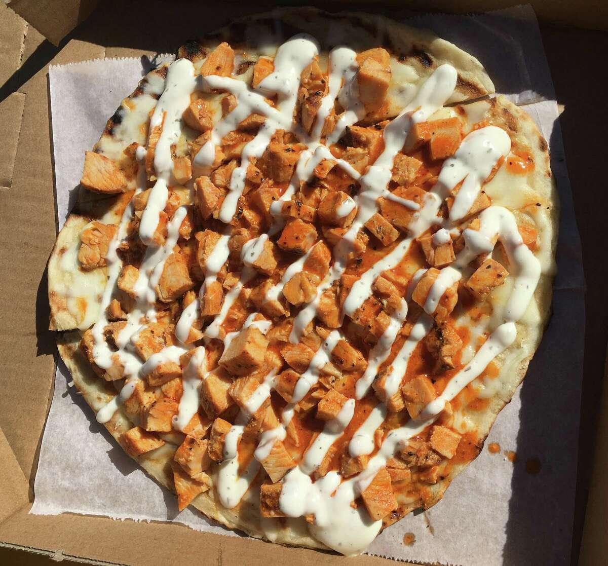 The buffalo chicken pizza at Bob & Timmy's on Wheels