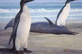 Two Kairuku penguins pass a stranded dolphin.