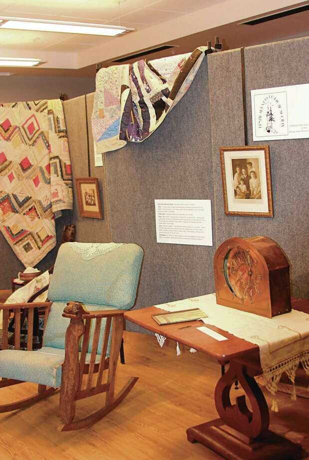 The Benzie Area Historical Society has a pop-up display at the Elizabeth Lane Oliver Center for the Arts corresponding with the current Furniture, Fiber, Photography and Sculpture exhibit. (Colin Merry/Pioneer News Network)