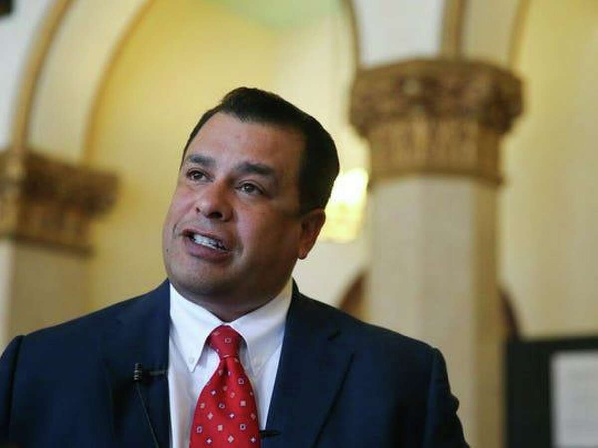 Tim R. Vasquez talks with reporters in 2016. Vasquez, 49, was elected as San Angelo police chief three times, serving from 2004 to 2016. He was indicted Jan. 8 on one count of receipt of a bribe by an agent of an organization receiving federal funds and three counts of honest services mail fraud. Federal prosecutors allege that a San Antonio-based communications company funneled more than $130,000 in bribes to him and his band, Funky Munky, for helping the company secure a contract for the police and fire radio system.