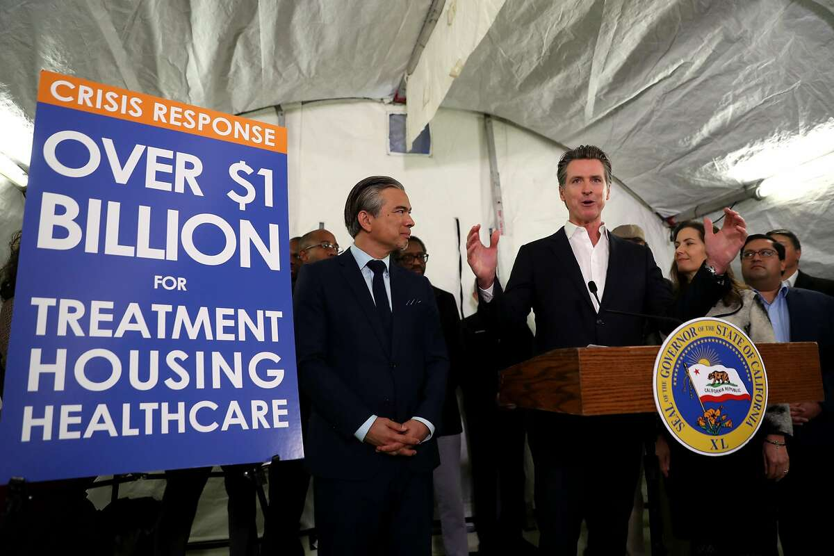 OAKLAND, CALIFORNIA - JANUARY 16: California Gov. Gavin Newsom speaks during a news conference about the state's efforts on the homelessness crisis on January 16, 2020 in Oakland, California. Newsom was joined by Oakland Mayor Libby Schaaf to announce that Oakland will receive 15 unused FEMA trailers for the city to use as temporary housing and as mobile health and social services clinics for the homeless. Newsom signed on executive order on January 8 to deploy 100 trailers and crisis response teams to areas in need across the state. (Photo by Justin Sullivan/Getty Images)
