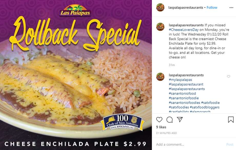 Las Palapas is serving $2.99 cheese enchilada plates all day Wednesday. The offer is valid on all dine-in or takeout orders all day long at all 16locations. Photo: Instagram Screengrab