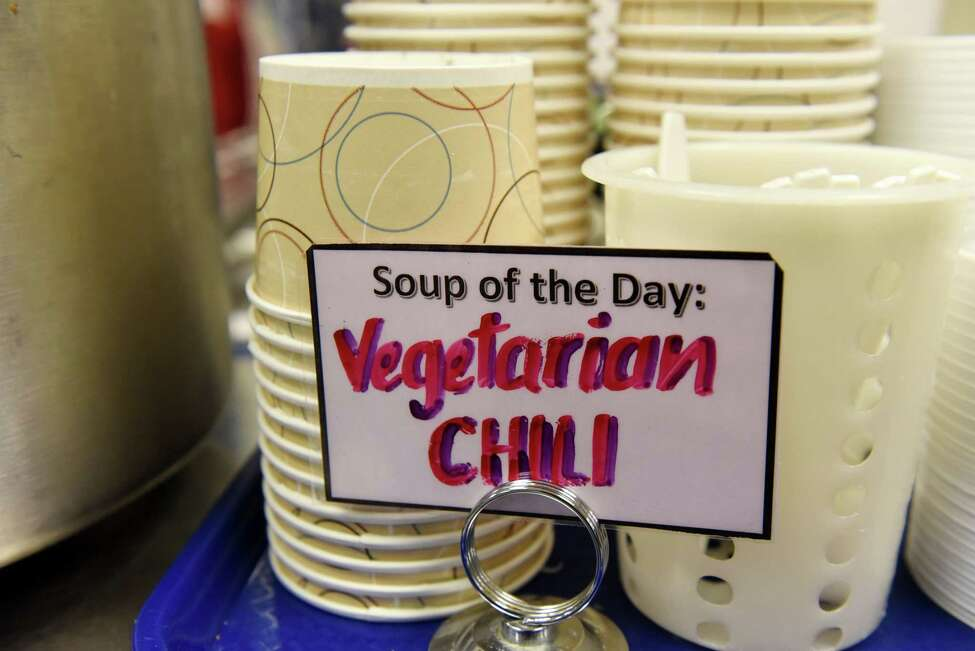 Vegetarian chili was the featured soup of the day in the Saratoga Springs High School cafeteria on Thursday, Oct. 3, 2019, in Saratoga Springs, N.Y. The school offers daily vegan meal options for its students. (Will Waldron/Times Union)