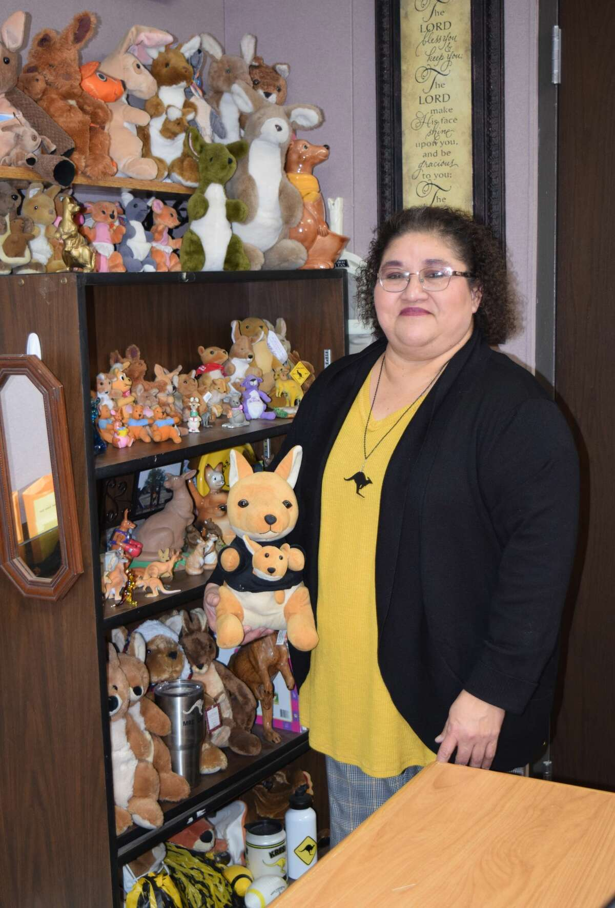 Felipa Cruz has been collecting kangaroos for 36 years. Her growing collection is displayed in her office right inside the Kress Elementary School doors.