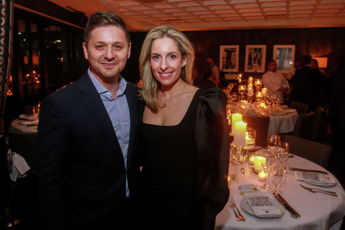 Carlos and Luvi Wheelock at the dinner hosted by Becca Cason Thrash at Steak 48 benefiting restoration efforts of Notre Dame on January 21, 2020.