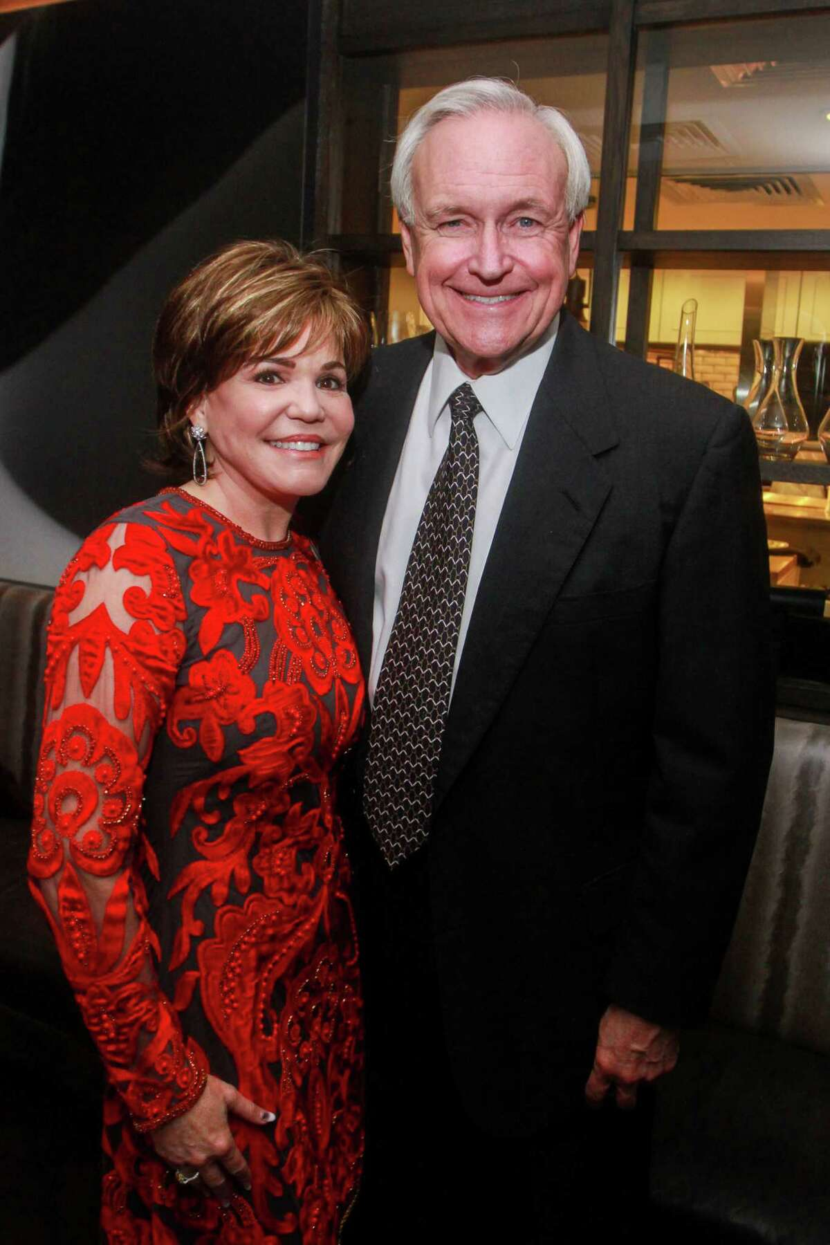 Hallie Vanderhider and Bill King at the dinner hosted by Becca Cason Thrash at Steak 48 benefiting restoration efforts of Notre Dame on January 21, 2020.