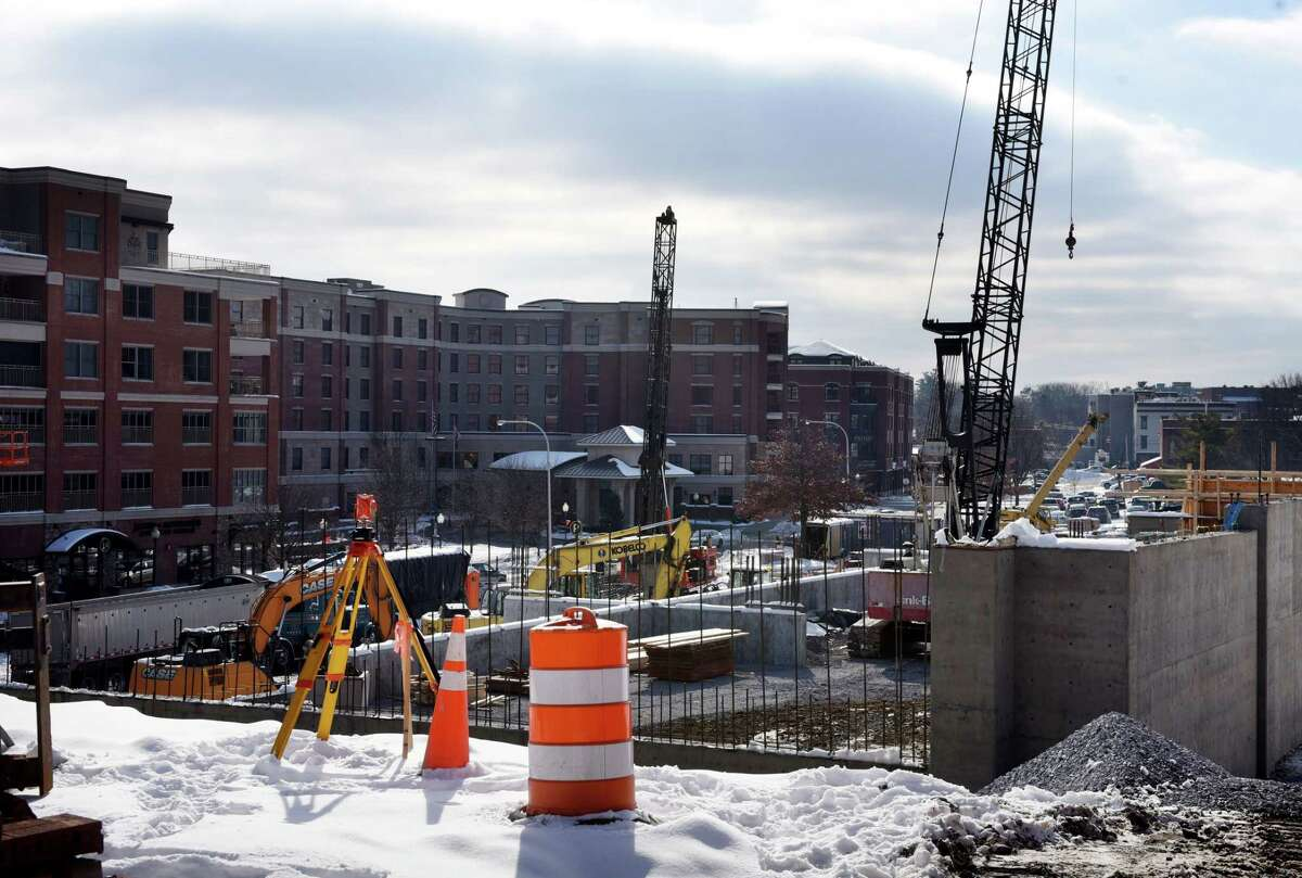 Work continues on the Saratoga Springs City Center parking garage on Wednesday, Jan. 22, 2020, in Saratoga Springs, N.Y. (Will Waldron/Times Union)