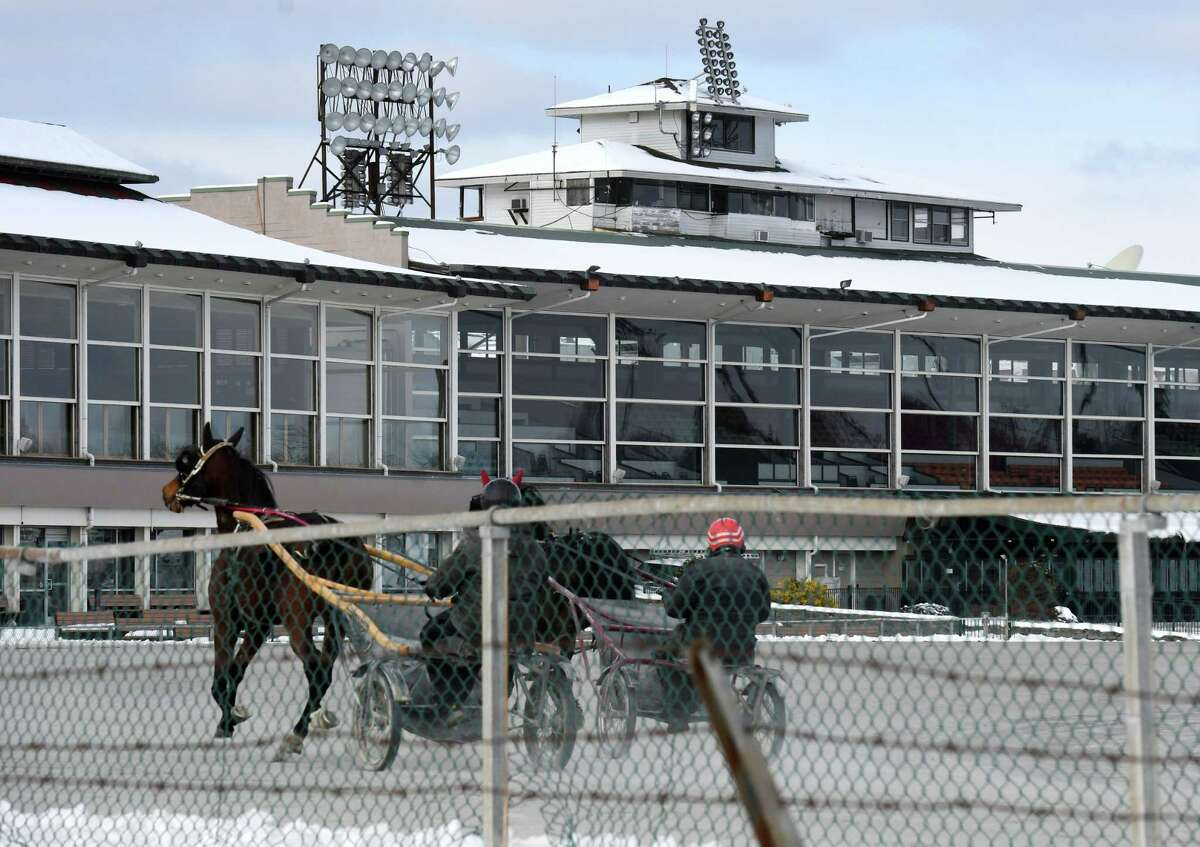 The state on Monday signed off on a new way to wager on harness races in New York. In this photograph, a harness horse is taken out for a workout on Wednesday, Jan. 22, 2020, at the Saratoga Casino harness track in Saratoga Springs(Will Waldron/Times Union)