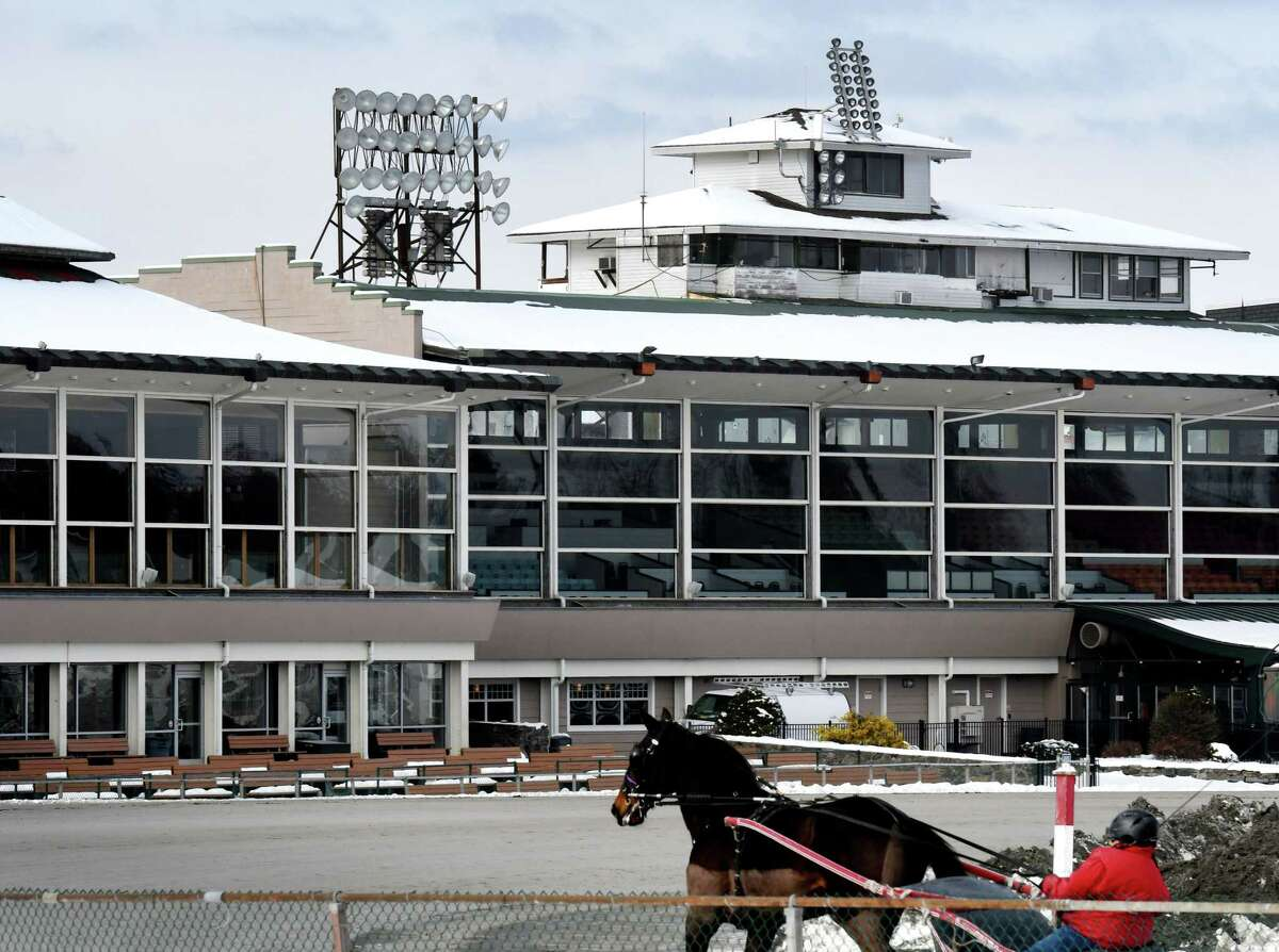 A harness horse is taken out for a workout on Wednesday, Jan. 22, 2020, at the Saratoga Casino harness track in Saratoga Springs. (Will Waldron/Times Union)