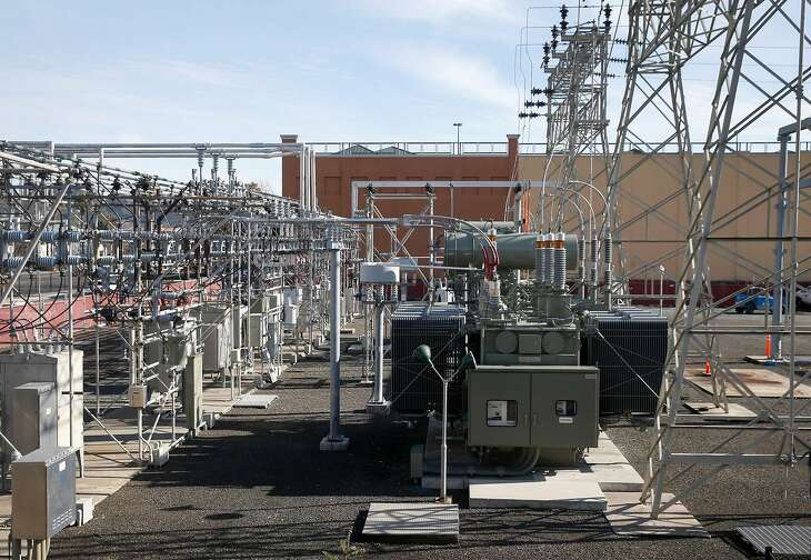 A PG&E power substation is seen on Second Street in downtown San Rafael, Calif. on Friday, Jan. 17, 2020.