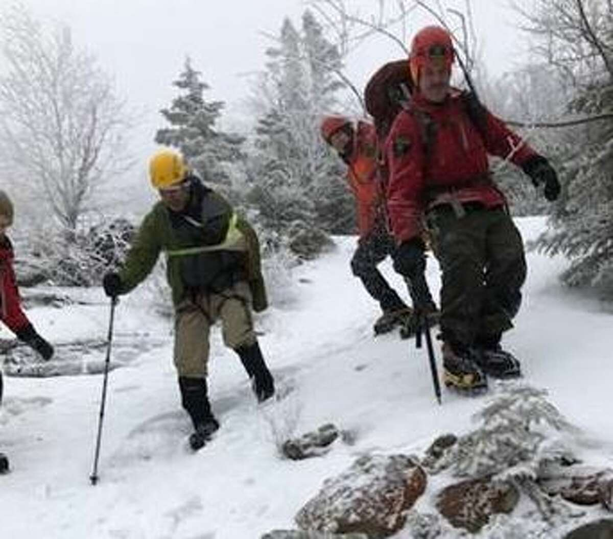 Forest rangers battled harsh conditions and had to set up a rope belay to rescue an injured hiker in the Dix range on Jan. 14, 2020 in North Hudson, N.Y.