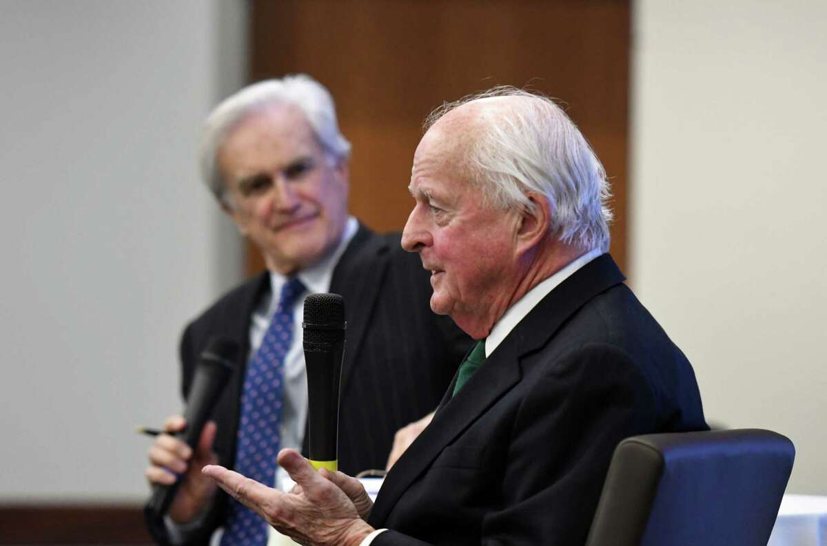Local economist Hugh Johnson shares his outlook for U.S. and Capital Region economies during a Times Union leadership luncheon moderated by Times Union editor Rex Smith, left, on Wednesday, Jan. 22, 2020, at the Hearst Media Center in Colonie, N.Y. (Will Waldron/Times Union)