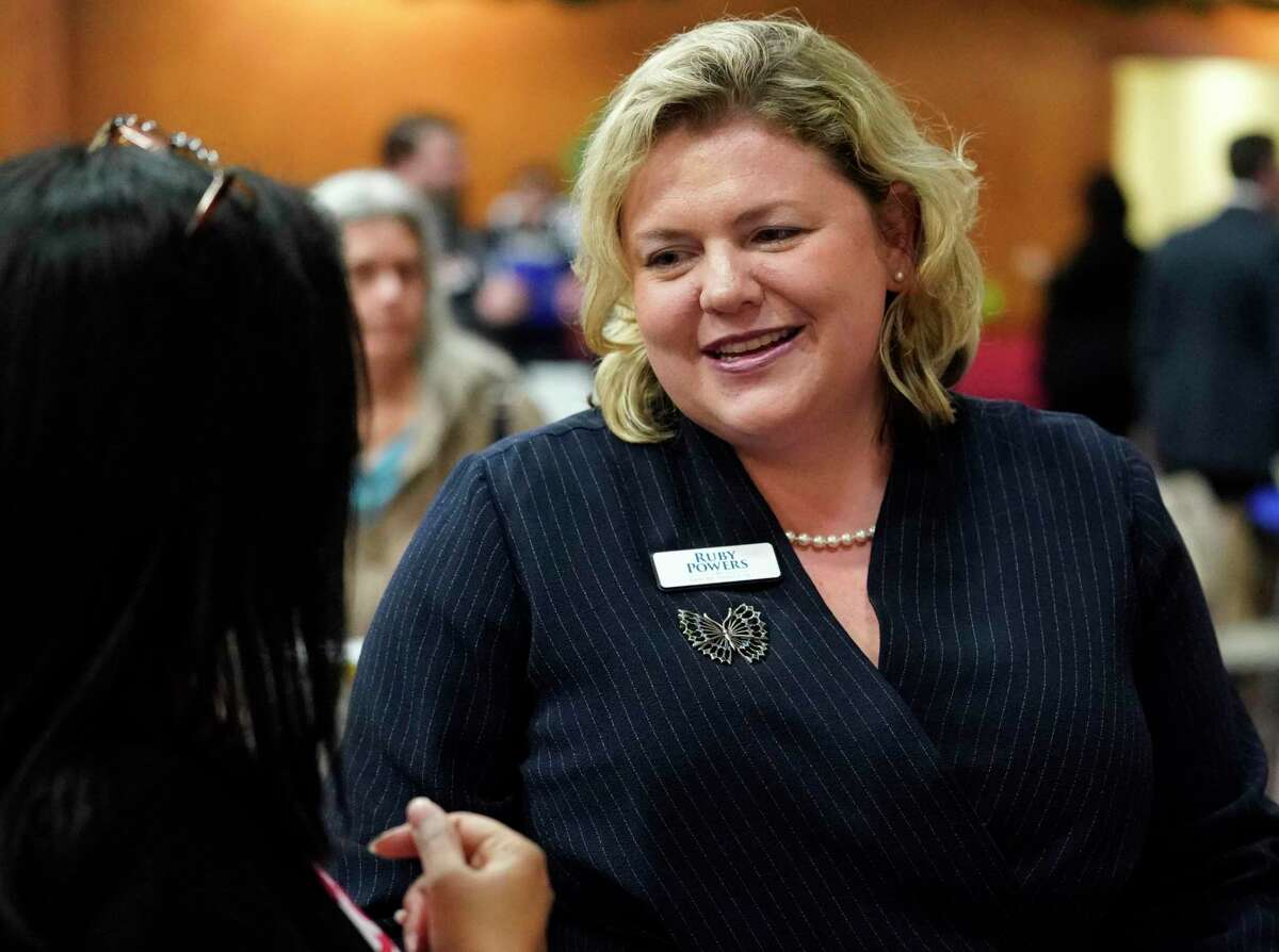 Democrat Ruby Powers is shown during the candidate forum for House District 134 held at Faith Lutheran Church, 4600 Bellaire Blvd., Thursday, Jan. 9, 2020, in Bellaire.