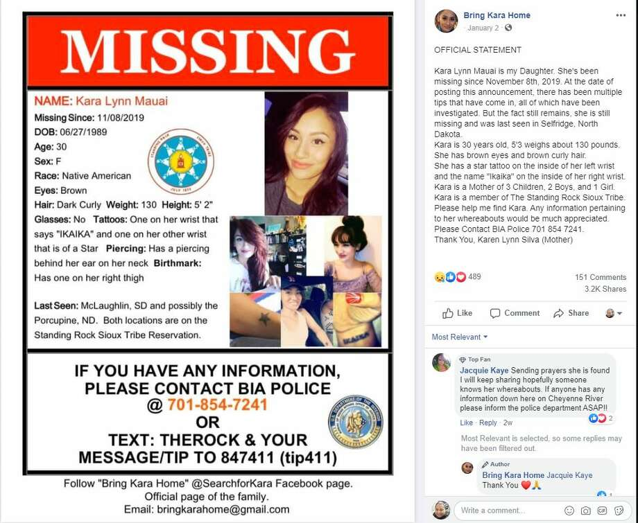 Kara Lynn Mauai has been missing since November 8th, 2019. She is still missing and was last seen in Selfridge, North Dakota, but her family believes the 30-year-old woman may have made it as far south as Texas. Photo: Bring Kara Home/Facebook