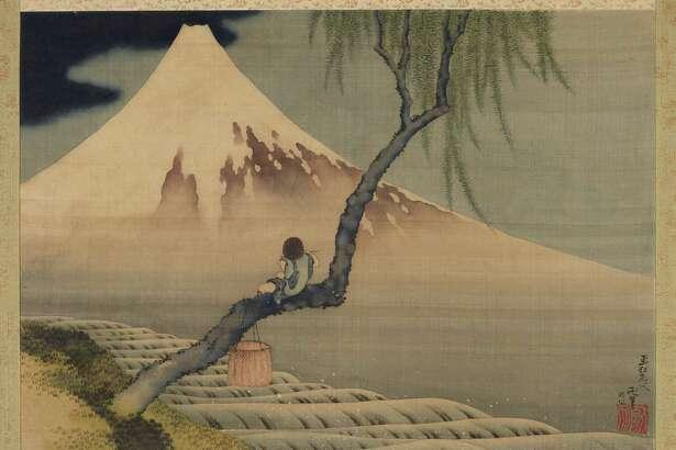 """Boy Viewing Mount Fuji"" by Katsushika Hokusai (Edo period, 1839). Hanging scroll; ink and color on silk."