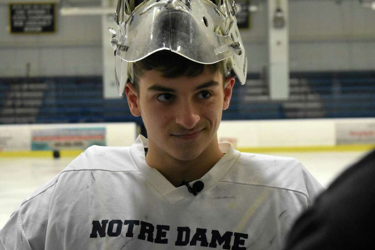 Notre Dame-Fairfield goalie Nick Piselli at practice at the Shelton Rinks on Monday, Jan. 20, 2020. (Pete Paguaga, Hearst Connecticut Media)