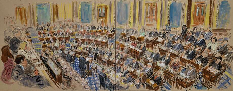 This artist sketch depicts White House counsel Pat Cipollone speaking in the Senate chamber during the impeachment trial against President Donald Trump on charges of abuse of power and obstruction of Congress, at the Capitol in Washington, Tuesday, Jan. 21, 2020. (Dana Verkouteren via AP) Photo: Dana Verkouteren, Associated Press