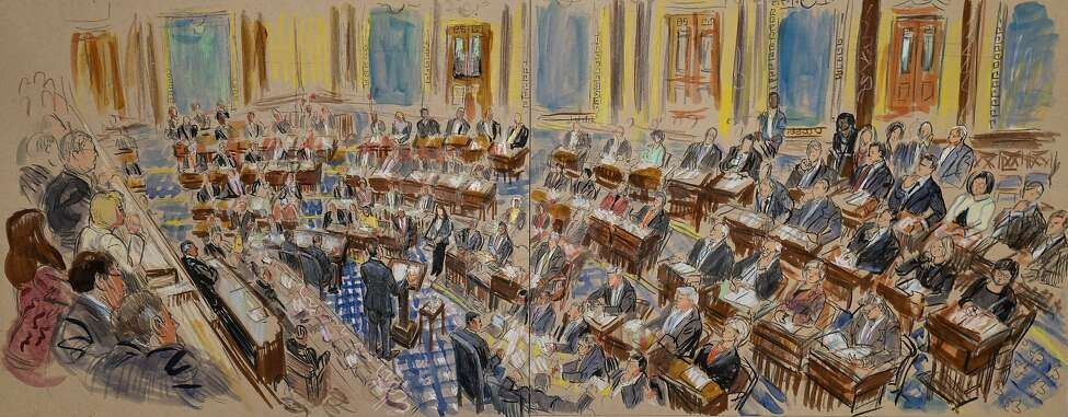 This artist sketch depicts White House counsel Pat Cipollone speaking in the Senate chamber during the impeachment trial against President Donald Trump on charges of abuse of power and obstruction of Congress, at the Capitol in Washington, Tuesday, Jan. 21, 2020. (Dana Verkouteren via AP)