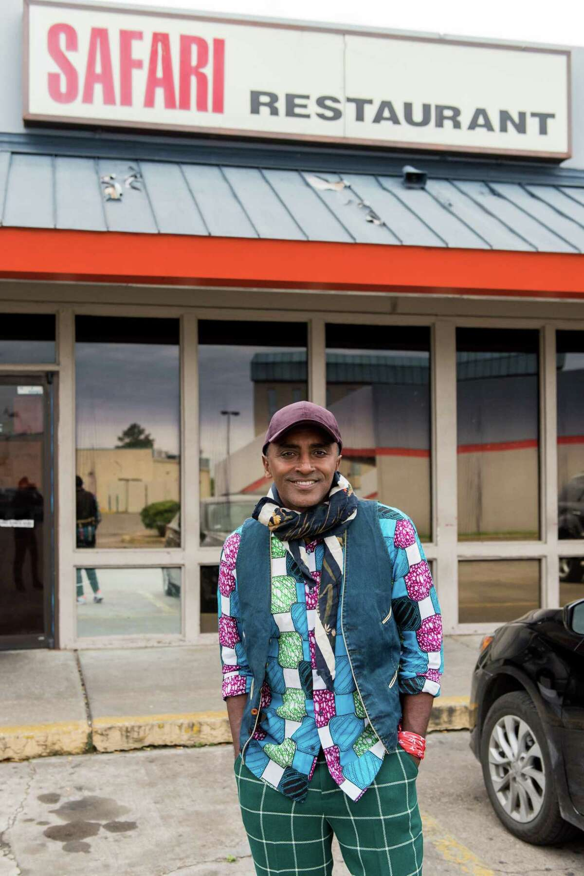 Chef Marcus Samuelsson at West African restaurant Safari in Houston. Houston's West African foods and culture are featured in an episode of Season 2 of