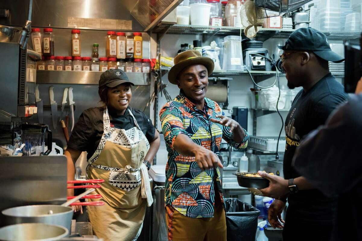 Houston West African restaurant ChopnBlok chef Ope Amosu and culinary operations manager Bethany Oyefeso discuss contemporary renditions of West African cuisine with chef Marcus Samuelsson at Cafeza, another West African restaurant in Houston. Houston's West African foods and culture are featured in an episode of Season 2 of