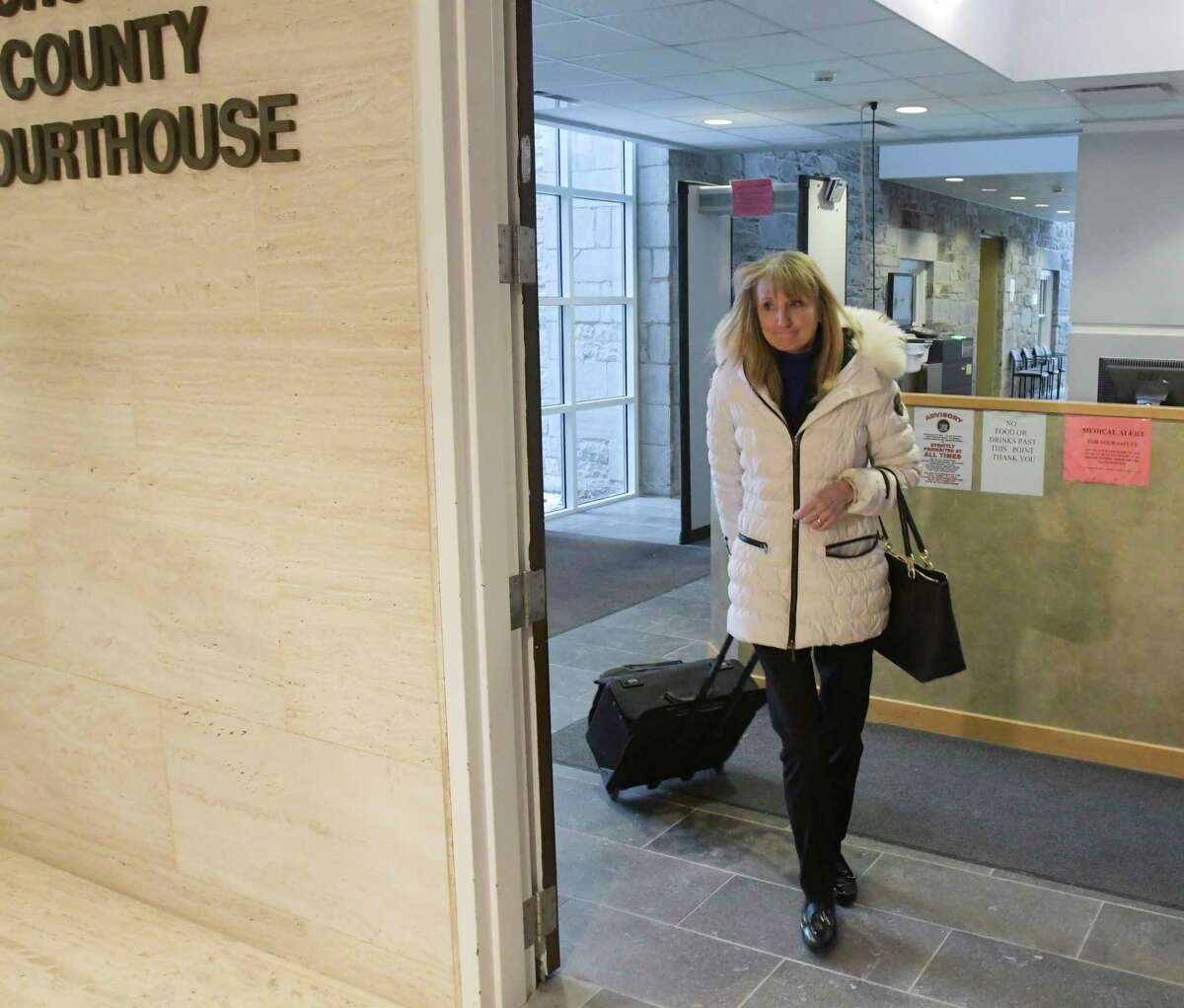 Schoharie County District Attorney Susan Mallery walks out of the Schoharie County Court House following a pre-trail hearing for Nauman Hussain on Wednesday, Jan. 22, 2020, in Schoharie, N.Y. (Paul Buckowski/Times Union)