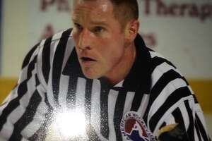 Hockey linesman Mke Emanatian, early in his career in 1987. (Photo courtesy Robin Emanatian)