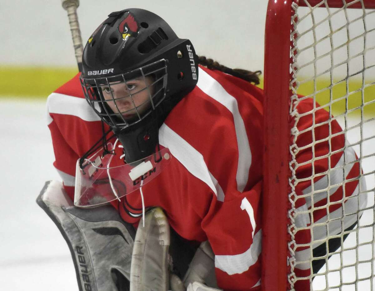 Greenwich goalie Jessica Ware keeps her eyes on the action against New Canaan.