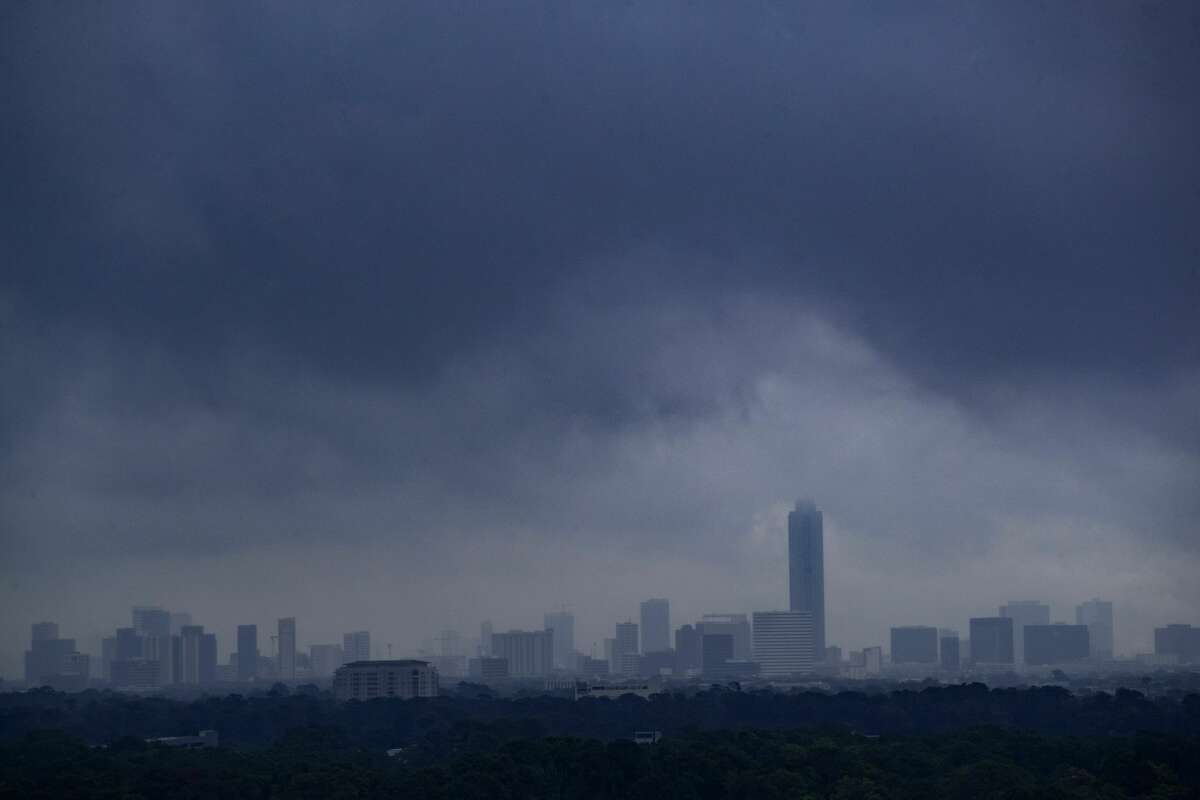 Weather moves over the city of Houston on Tuesday, Sept. 17, 2019.