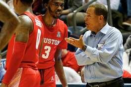 Coach Kelvin Sampson, guard DeJon Jarreau and the Houston men's basketball team will host UConn on Thursday.