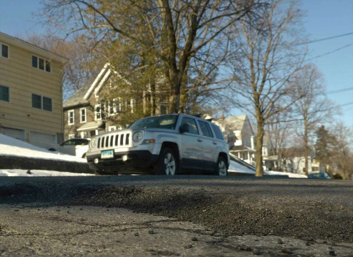 A ridge running across Grand Street in Danbury. The city is considering borrowing $18.55 million for various proposed road projects. Wednesday, January 22, 2020, in Danbury, Conn.