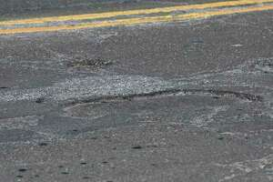Uneven pavement on Backus Avenue in Danbury. File photo Wednesday, January 22, 2020, in Danbury, Conn.