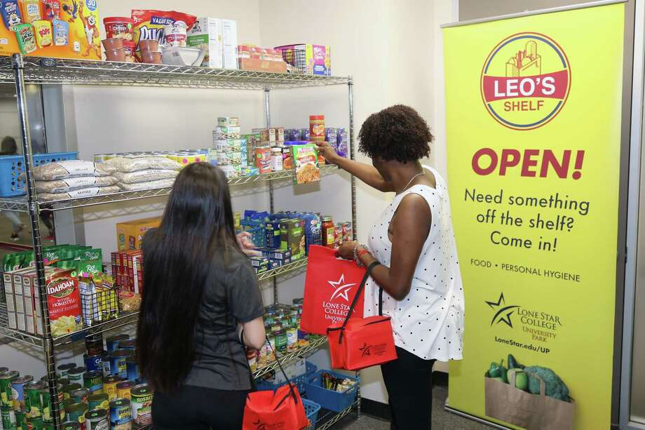 Students select items from LSC-UP's recently opened pantry, Leo's Shelf, offering free nonperishable food and toiletry items. Photo: Courtesy Of LSC-University Park / Submitted