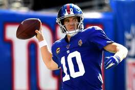 Eli Manning #10 of the New York Giants makes a pass during their game against the Buffalo Bills at MetLife Stadium on September 15, 2019 in East Rutherford, New Jersey. (Photo by Emilee Chinn/Getty Images)