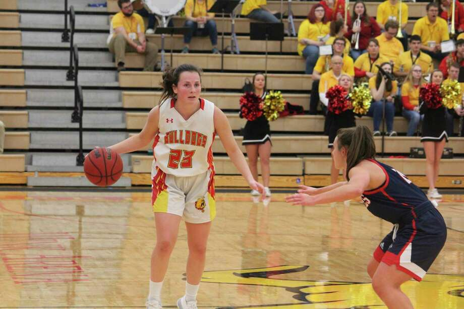 Ferris and freshman Mallory McCartney (23) take on Wisconsin-Parkside on Thursday. (Pioneer file photo)
