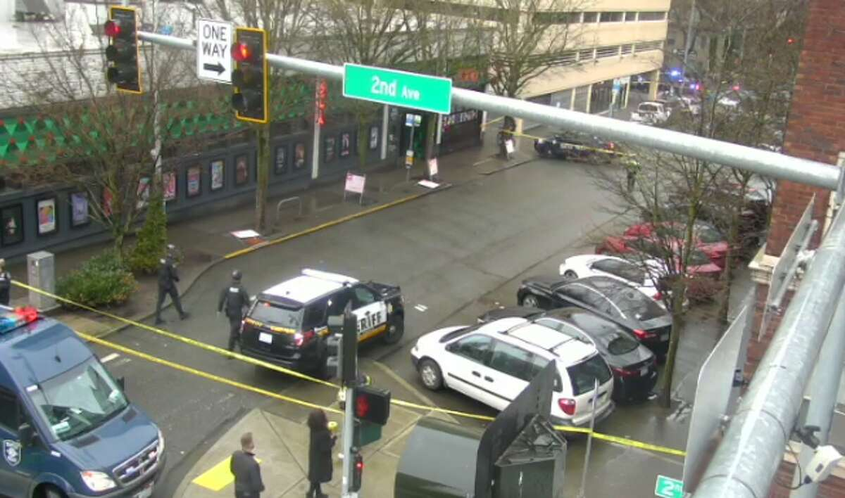 A suspect was taken to Harborview Medical Center on Wednesday afternoon after being shot in Belltown,according to the Seattle Police Department.