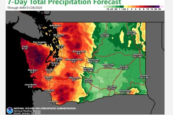 Total precipitation for Seattle was expected to be 2-3 inches over the next seven days.