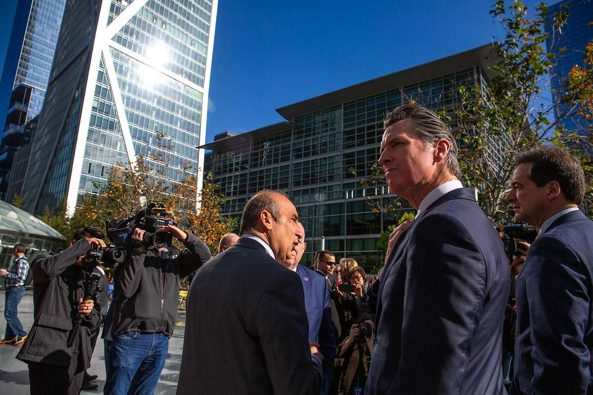 Gavin Newsom, Governor of California, happily shows off the park atop Salesforce Transit Center in downtown San Francisco which he calls the