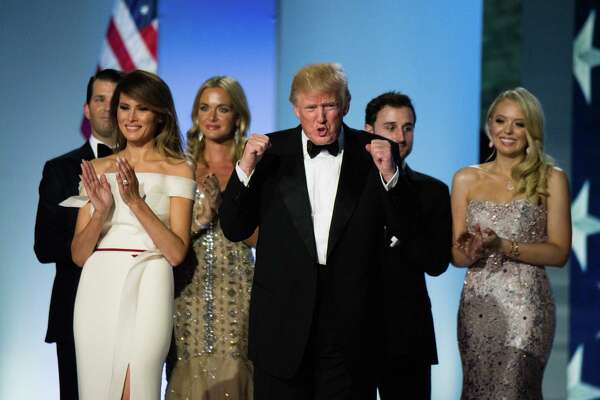 President Trump, first lady Melania Trump and family celebrate on Jan. 20, 2017, at one of several inaugural galas.