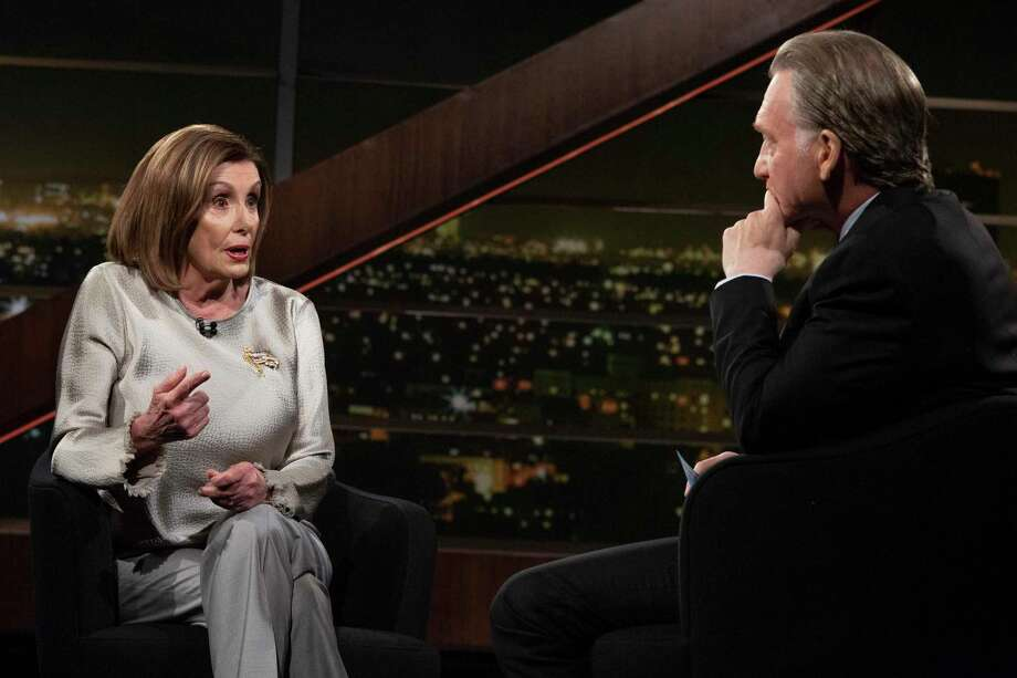 Bill Maher, right, listens to House Speaker Nancy Pelosi, a recent guest on his show. One reader says Pelosi won't be remembered by future generations for ushering in impeachment, and may be helping Trump. Photo: HBO / HBO©2020