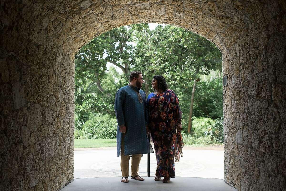 Urmila Ramakrishnan and her fiance, Zak Kirchner, at their engagement shoot. Urmila wears a sari from Riiti Fashions in San Jose, and Zak wears a kurta from Sari Palace in Berkeley.