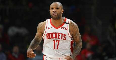 Houston Rockets forward PJ Tucker comes upcourt during an NBA basketball game against the Atlanta Hawks, Wednesday, Jan. 8, 2020, in Atlanta. (AP Photo/John Amis)