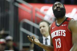 Houston Rockets guard James Harden (13) looks up after being called for a foul during the second half of an NBA basketball game at Toyota Center, in Houston, Monday, Jan. 20, 2020.