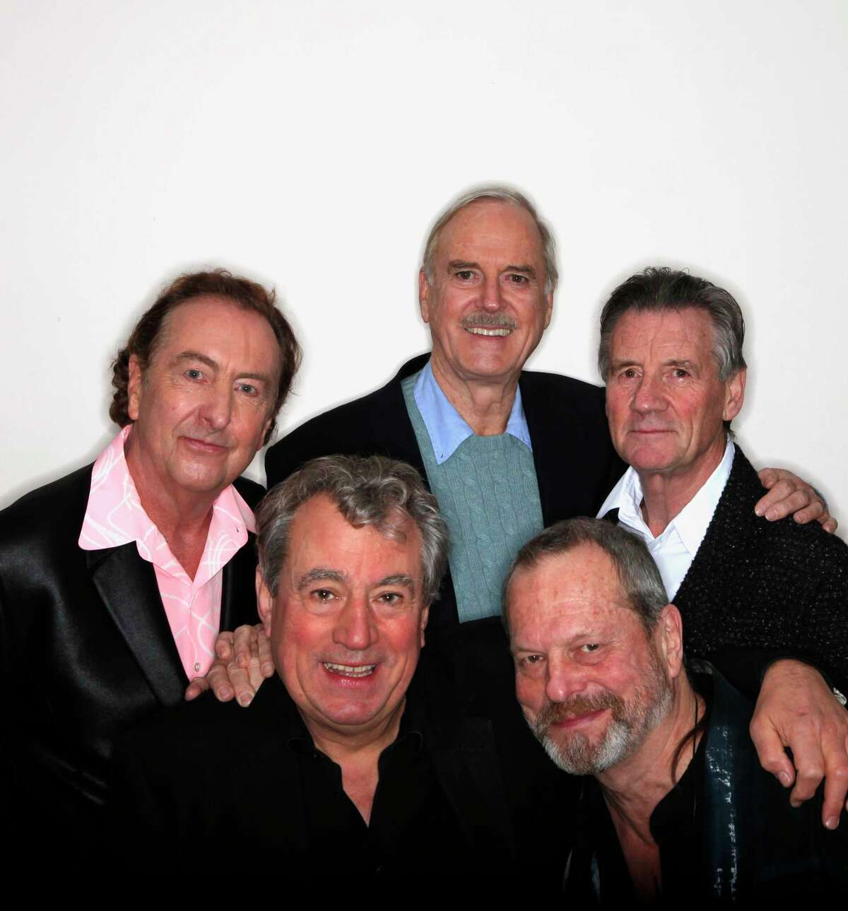 FILE - Monty Python members, from left: Eric Idle, Terry Jones, John Cleese, Terry Gilliam and Michael Palin in New York on Oct. 15, 2009. Jones, who earned a spot in comedic lore as a member of the British troupe Monty Python and also had success as a director, screenwriter and author, died on Tuesday night, Jan. 21, 2020, according to his ex-wife, Alison Telfer. He was 77. (Damon Winter/The New York Times)