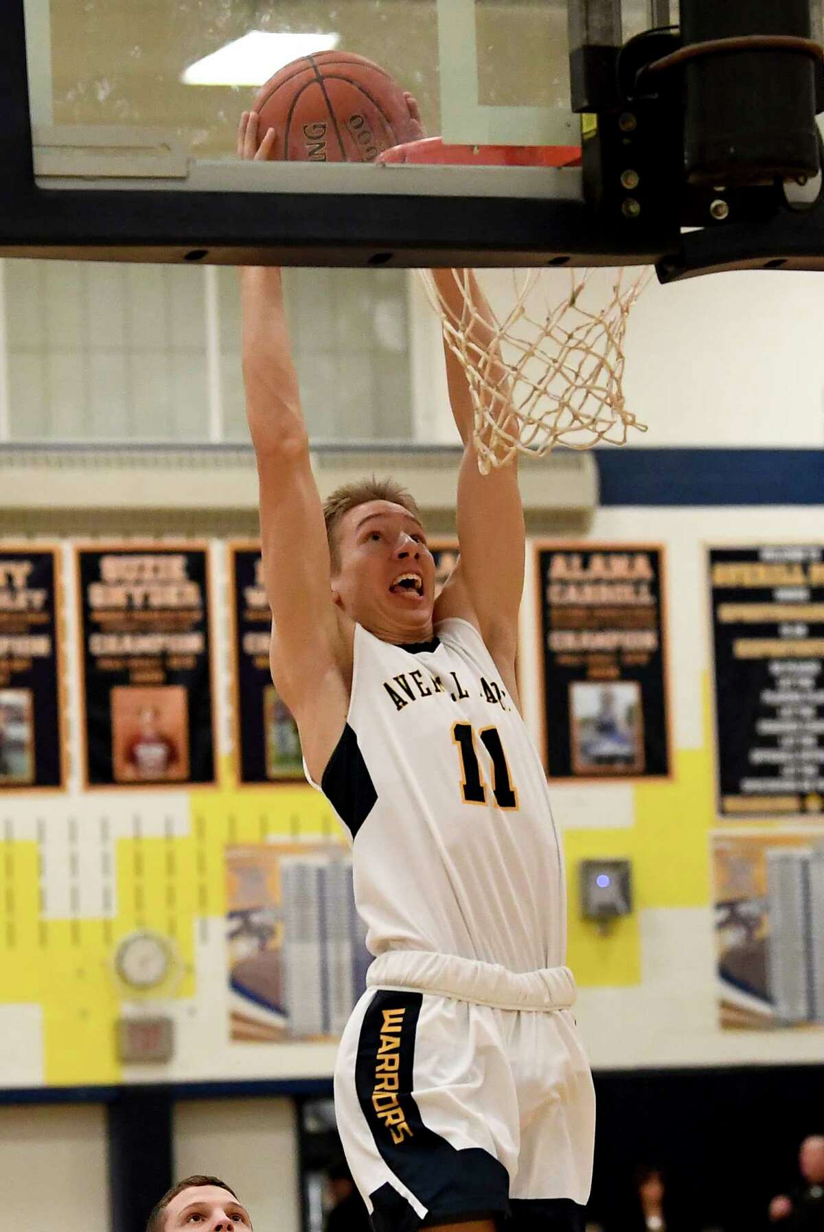 Averill Park's Matt Lettko (11) dunks the ball against the Hudson Falls' during a boys' high school basketball game Wednesday, Jan. 22, 2020, in Averill Park, N.Y. (Hans Pennink / Special to the Times Union) ORG XMIT: 012320_hsbb_HP101