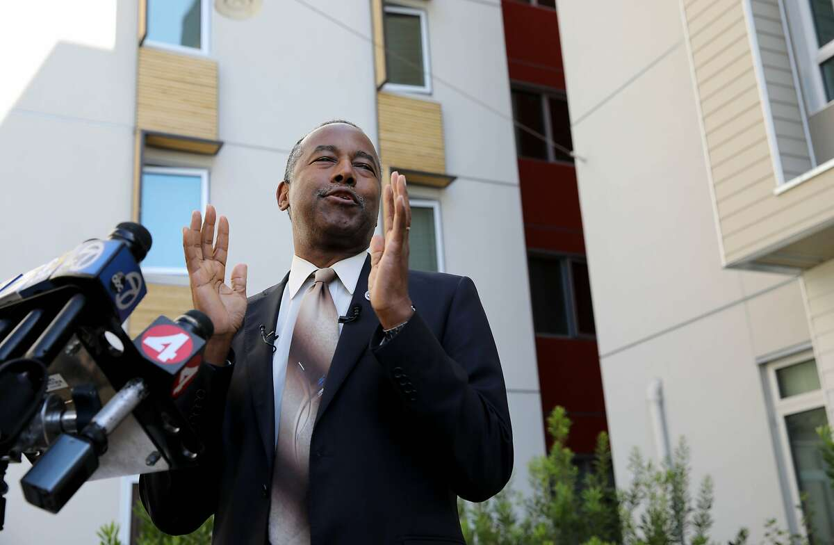 HUD Secretary Ben Carson speaks during a press conference during his visit to an affordable housing project in the Potrero Terrace public housing project, located at 1101 Connecticut St., in San Francisco, Calif., on Tuesday, September 17, 2019.