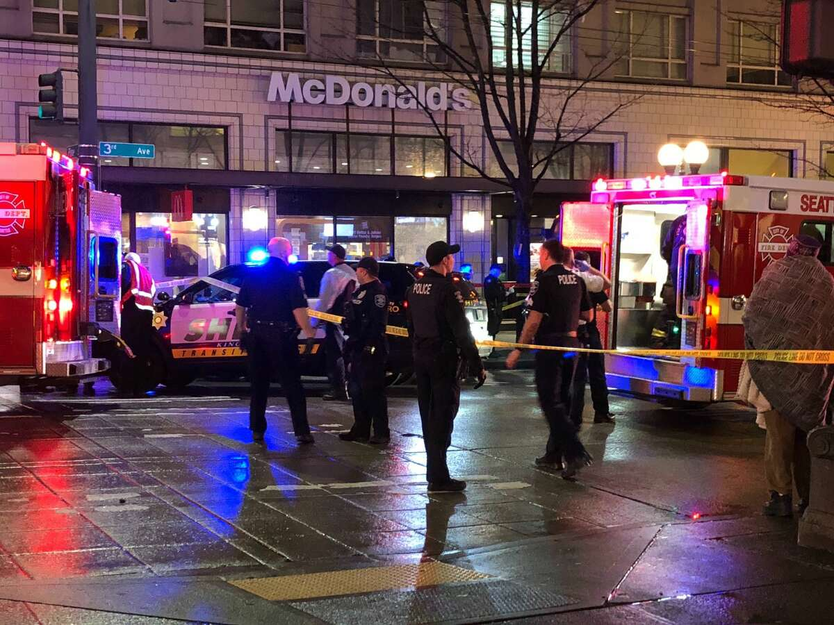 Police cordon off the site of a shooting in downtown on January 22, 2020 in Seattle, Washington. As many as seven people have been reportedly injured and police are still searching for the suspect. (Photo by Chris Porter/Getty Images)