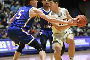 University at Albany's Cameron Healy drives to the basket against Lowell's Connor Withers during a game at SEFCU Arena on Wednesday, Jan. 22, 2020 in Albany, N.Y. (Lori Van Buren/Times Union)