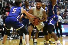 University at Albany's Kendall Lauderdale drives to the basket during a game against Lowell at SEFCU Arena on Wednesday, Jan. 22, 2020 in Albany, N.Y. (Lori Van Buren/Times Union)