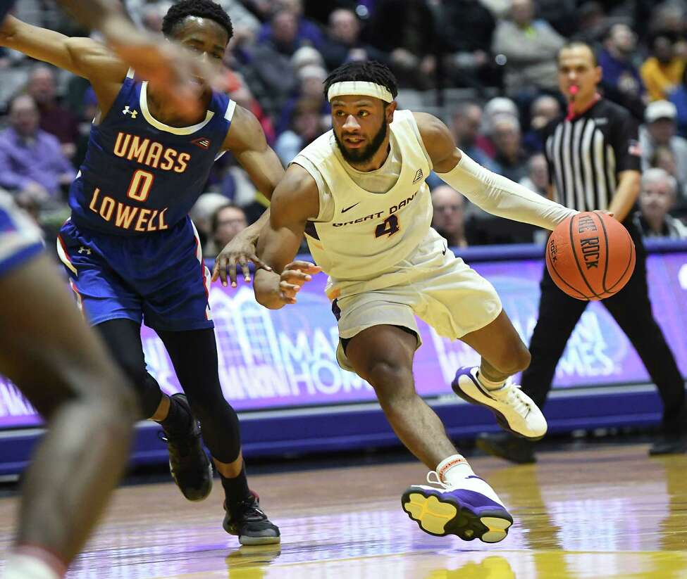 University at Albany's Ahmad Clark drives to the basket during a game against Lowell at SEFCU Arena on Wednesday, Jan. 22, 2020 in Albany, N.Y. (Lori Van Buren/Times Union)