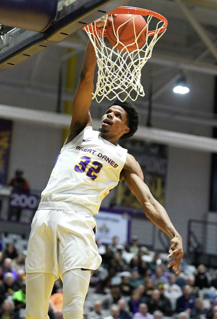 University at Albany's Romani Hansen dunks the ball during a game against Lowell at SEFCU Arena on Wednesday, Jan. 22, 2020 in Albany, N.Y. (Lori Van Buren/Times Union)